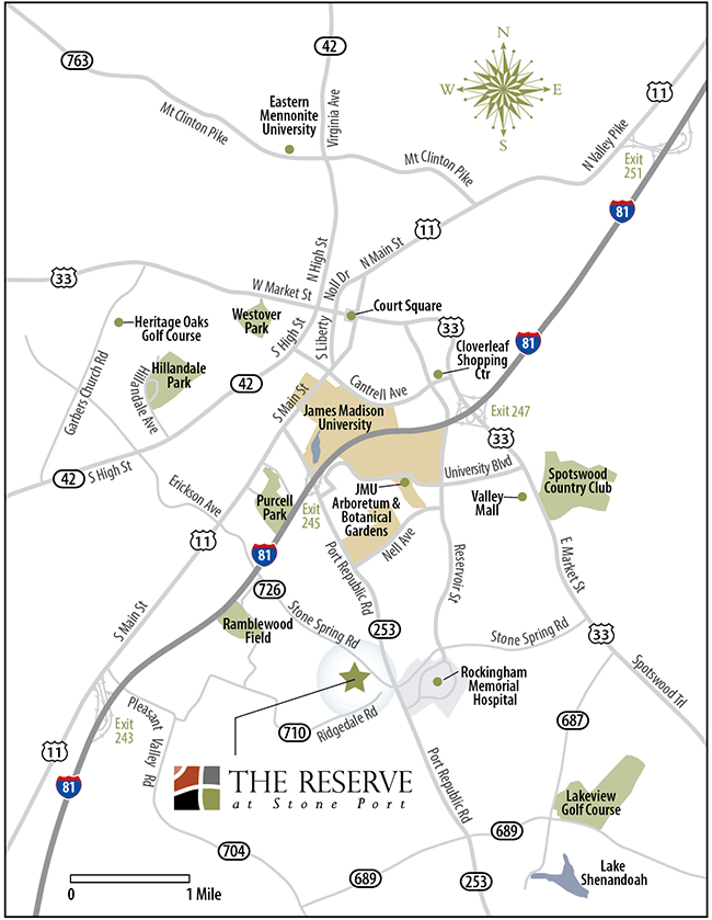 Reserve at Stone Port Apartments Location Map in Harrisonburg